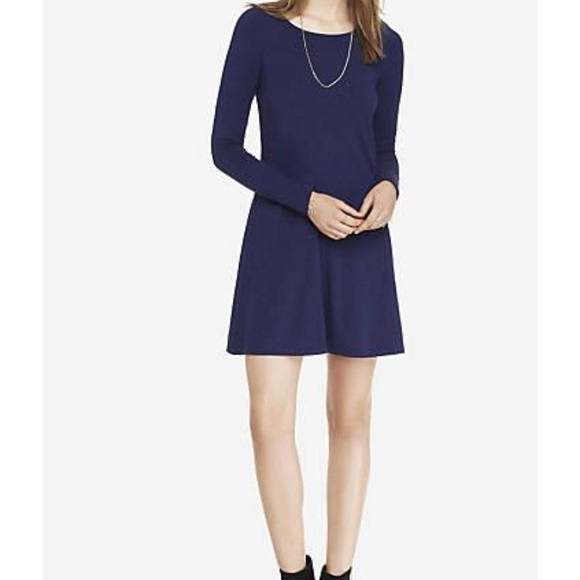 Express Dresses & Skirts - Express Dark Blue Long Sleeve Trapeze Dress